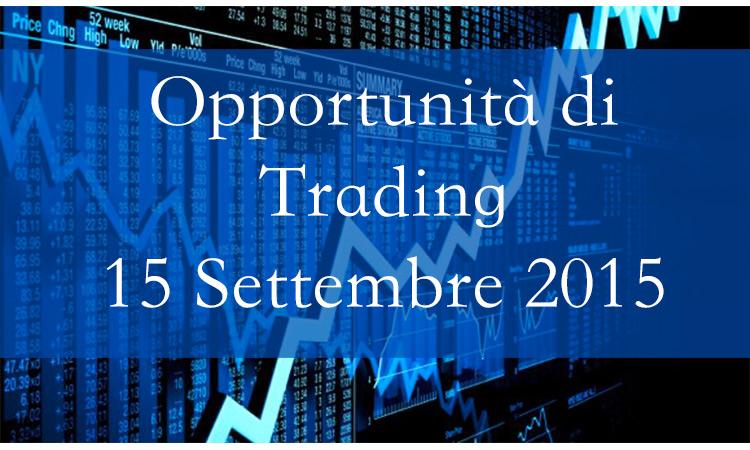 Opportunità di Trading 15 Settembre 2015
