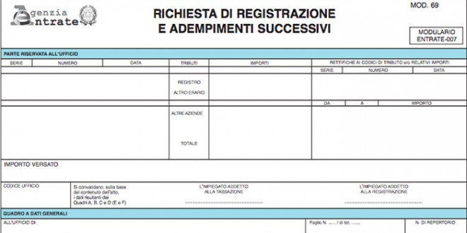 Modello 69 cedolare secca agenzia delle entrate for Contratto cedolare secca modello