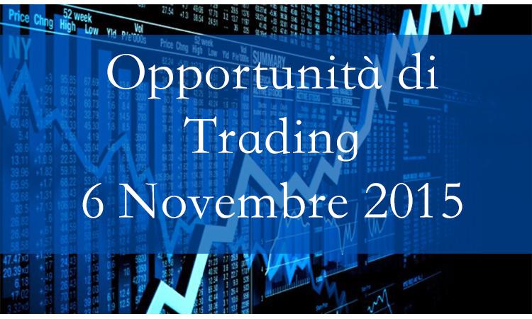 Opportunità di Trading 6 Novembre 2015