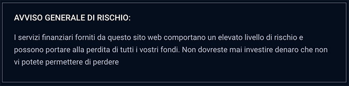 Disclaimer IQ Option Italia